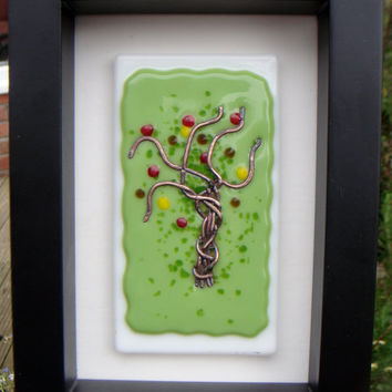 Glass Painting  copper wire and fused glass wall hanging in black box frame