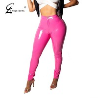 High Waist Skinny Leather Pants Female Solid Color Casual Leggings