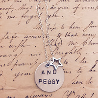 Hamilton The Musical AND PEGGY Silver Stamped Necklace With Silver Star Charm