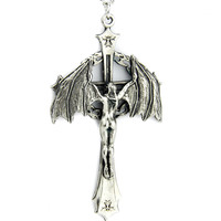 Bat Girl Crucifix Necklace Celtic Cross Goth Dark Angel