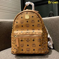 MCM High Quality Classic Women Leather Daypack Rivet Travel Bookbag School Bag Backpack Brown