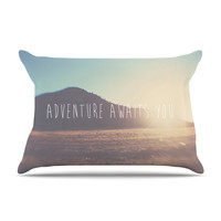 "Laura Evans ""Adventure Awaits You"" Coastal Typography Pillow Case"