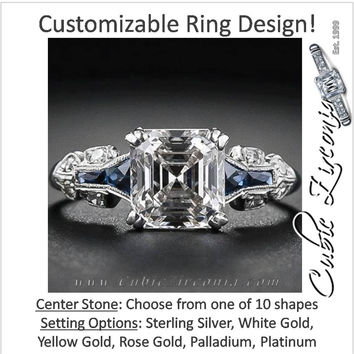 Cubic Zirconia Engagement Ring- 2.08 TCW Vintage Style with Sapphire Accents