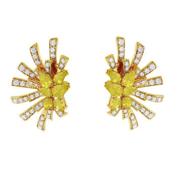 Mirage earring in yellow gold with diamonds, Yellow Sapphire