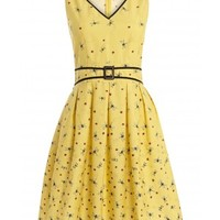 263 - Very Vintage V Neck Dress - Yellow Dragonfly and Ladybird - dresses