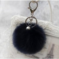 BEADY FUR POM BALLS KEYCHAIN or BAG CHARM - NAVY BLUE