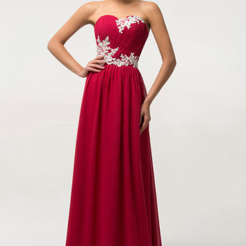 Solid  Lace Embroidered Sleeveless Maxi Prom Dress