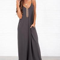 Love You Still V-Neck Maxi Dress (Ash Grey)