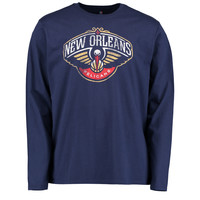 Men's New Orleans Pelicans Navy Distressed Long Sleeve T-Shirt