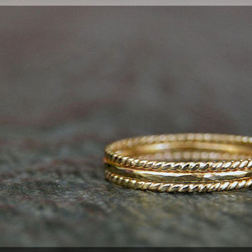 Set of 3 Ultra Thin 14k Gold Filled Stacking Ring, Twisted 14k gold filled ring, Delicate gold filled ring, Dainty Hammered stacking ring