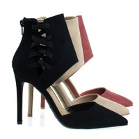 Worship37s Black By Anne Michelle, Pointy Toe Pump w Ankle Height Cuff w Elastic Strap D'Orsay Cut