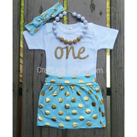 aqua and gold first birthday outfit, first birthday outfit, first birthday girl outfit, aqua and gold skirt, girls birthday outfit, 1st