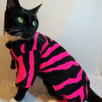 CoolCats Hot Pink and Black Tiger Striped Fleece Pajamas for Cats
