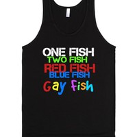 One of these fish are not like the others-Unisex Black Tank