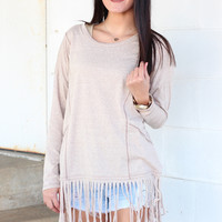 Festival Fringe Knit Top {Natural}