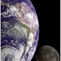 The Earth and Moon View from Space Poster 11x17
