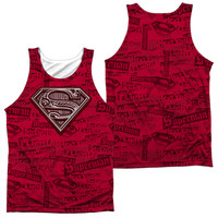 SUPERMAN/SUPER POWERS-ADULT 100% POLY TANK TOP-WHITE