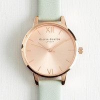 Luxe Undisputed Class Watch in Mint Rose Gold - Midi by Olivia Burton from ModCloth