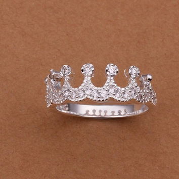 Sterling Silver Cubic Zirconia Princess Crown ring size 8