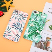 Retro Summer Palm Leaf Phone Case For iPhone 8 Plus 6 6S Case Hard PC Cover Cartoon Banana Leaves Cases For iphone 7 Plus X Case