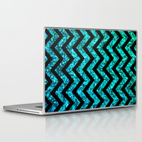 Chevron Aqua Sparkle (Not Real Glitter) Laptop & iPad Skin by M Studio