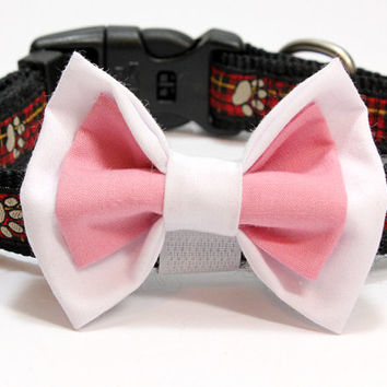 Medium Size White and Salmon Colored Dog Bow Tie. Dusty Pink and White Cotton Bowtie for Dogs or Puppies. Fits with Velcro Around Collar.