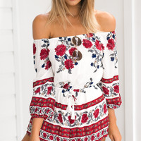 Printing Collar Shorts Jumpsuit