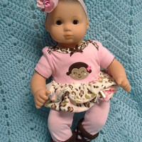 """AMERICAN GIRL Bitty Baby Clothes """"Monkey Go Wild"""" (15 inch) doll outfit  dress, leggings, baby booties, socks and headband flamingo B1"""