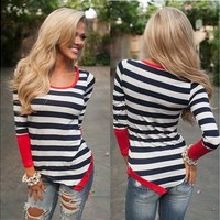 Autumn Spring New Women Fashion Slim Stripe Mosaic Irregular Long Sleeved T-shirt Coat [8023423111]