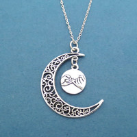 Love you to the moon and back, Promis, Crescent, Moon, Star, You and I, Pinky Promise, Necklace, Anniversary, Love, Lover, Gift, Jewelry