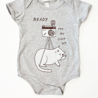 """Baby Photo Outfit """"Ready For My Close Up"""" Onesuit Baby Clothing - Grey Cat Onesuit, Baby Camera Cat Onesuit"""