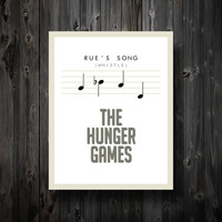 """Rue's Song Hunger Games Inspired Poster 11"""" x 14"""" in White"""