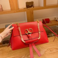 Valentino  Women Leather Shoulder Bag Shopping Satchel Tote Bag Bags