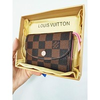 Louis Vuitton LV Pink Buckle Key Packet PU Small Coin Purse Wallet Key Pouch High Quality