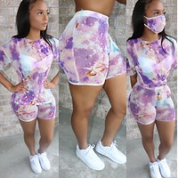 Women's tie dye round neck casual fashion T-shirt Sports Shorts Set + same mask