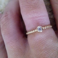 SALE!Thiny ring - Simple ring -Clear Quartz Ring-Genuine gemstone ring - Stackable Ring - Any Birthstone Ring - Bezel ring