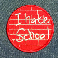"Vintage ''I Hate School"" Embroidered Iron -On Patch"
