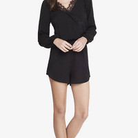 Long Sleeve Lace Trim Surplice Romper from EXPRESS