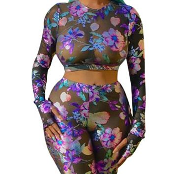 Women's sexy round neck long sleeve perspective printing two-piece navel exposed