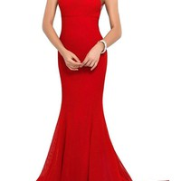 Nitree Women's Open Back Red Tulle Mermaid Prom Dresses Long Evening Gowns