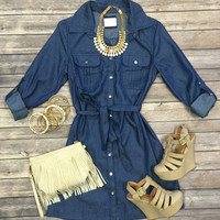 Denim Dayz Chambray Dress: Medium