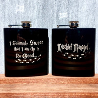 Black Flask(s) with Harry Potter Quotes, Footprints