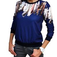 Print Three Quarter Women Shirt Crewneck Pullover Jumper Outwear Blouse Top Tracksuit Blue White Black 3 Color