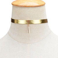 Leather Choker Necklace  Gold Silver
