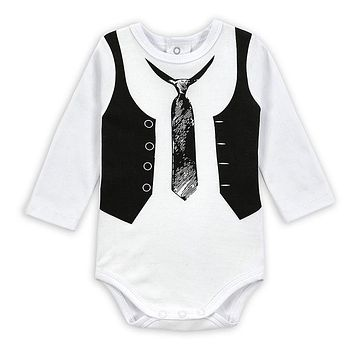 Free Shipping Baby Bodysuit Gentleman Style Infant Long Sleeve Creeper Baby Boy and Girl Clothes Baby Body Suit New Born