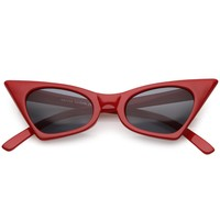 Retro Small High Pointed Sunglasses Neutral Colored Oval Lens 46mm