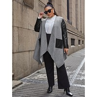 SHEIN Plus PU Panel Patch Pocket Hanky Hem Coat
