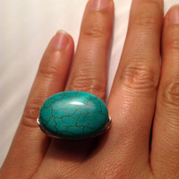 Turquoise silver ring size 6 1/2 - blue turquoise - wire wrapped - handmade- chunky ring - cocktail ring -