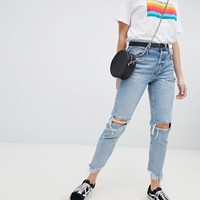 Bershka ripped straight crop in blue at asos.com