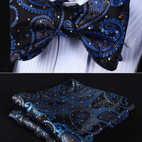 Wedding BP706VS Blue Black Paisley Bowtie Men Self Tie Bow Tie handkerchief set Pocket Square